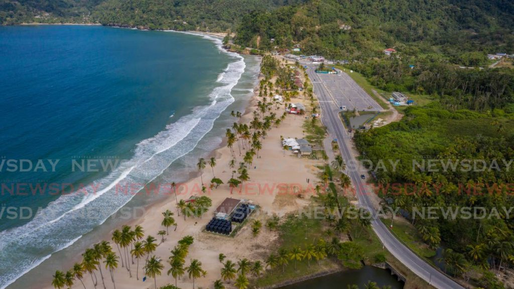 RARE SIGHT: An aerial view of Maracas Bay showing a deserted beach front  and empty carpark due to the ban on beach and river gatherings as part of covid19 public health orders. PHOTO BY JEFF MAYERS - Jeff Mayers