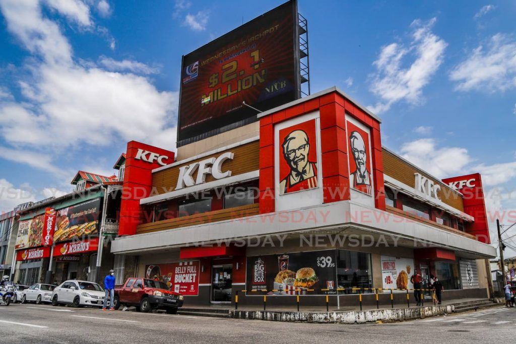 FILE PHOTO: KFC on Independence Square, Port of Spain, is closed owing to Government's stay-at-home measures. -