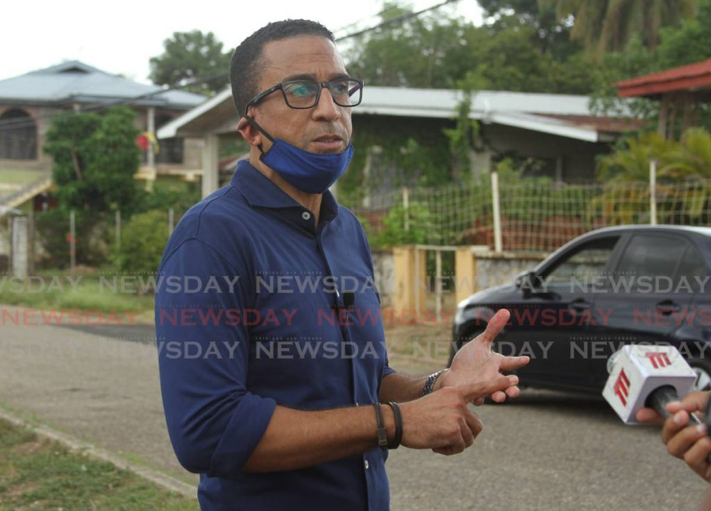 Former TT midfielder David Nakhid speaks to the media before distributing hampers in his hometown of Mt D'or, Champs Fleurs. PHOTO BY AYANNA KINSALE. - Ayanna Kinsale