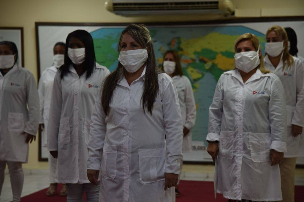Some of the Cuban nurses who arrived in TT to assist treating covid patients. - Photo courtesy Cuban News Agency