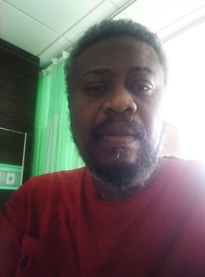 Recovering covid19 patient, Van Berg Springer, 50, who sent this photo as he recovers at the Couva Hospital and Multi-Purpose Facility. He has praised the service given by nurses at the hospital.  -