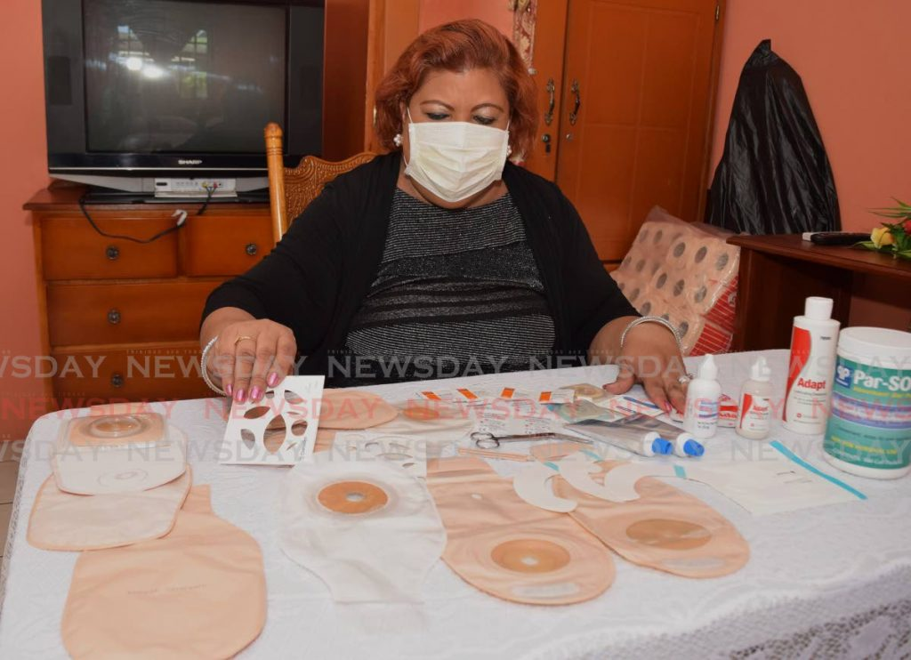 Founder and owner of Better Life Ostomy Care, Charmaine Mahraj-Edwards shows some of the products she supplies to ostomy clients. - Vidya Thurab