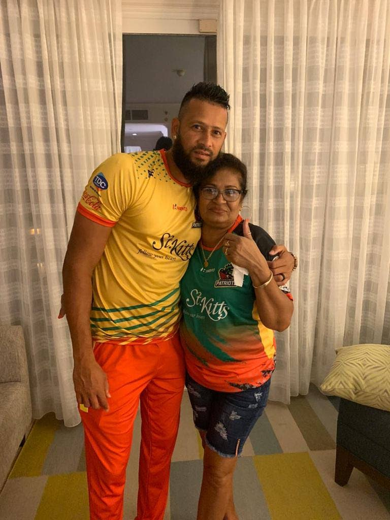 St Kitts and Nevis Patriots captain Rayad Emrit and his supportive mother Basdai Molly Emrit.  -
