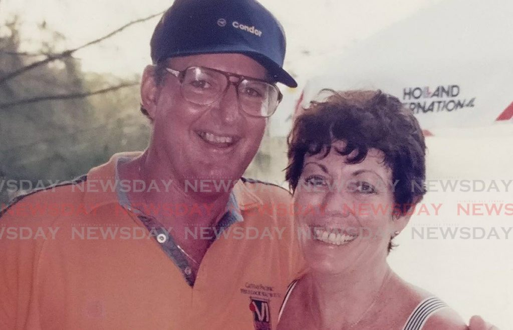 Former cricket journalist Tony Cozier, left, with his wife Jillian. Jillian died in Barbados, on Sunday. -