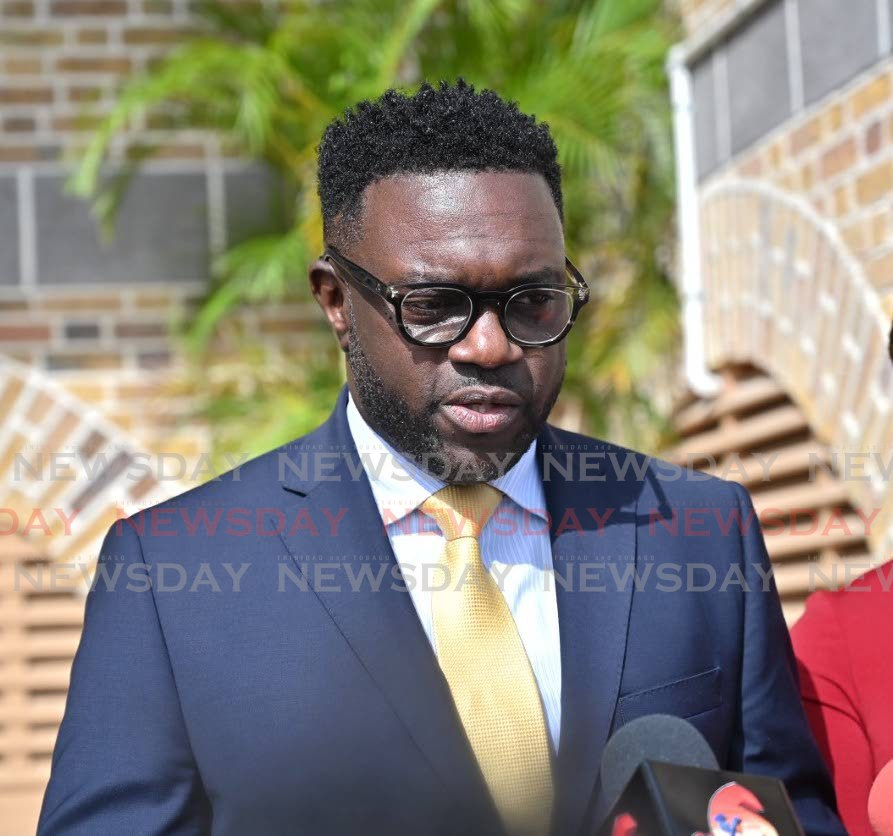 Minority Leader Watson Duke speaks to the media last week outside the Assembly Legislature, Scarborough. PHOTO BY LEEANDRO NORAY   -