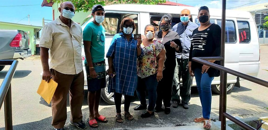 Members of the PCTT involved in the distribution of hampers to the La Romaine Migrant Support (LARMS) Group. Winston Ramjattan, left, Andrew Neemai (board of Social Responsibility), Gitanjali Ramnarine, deaconess Marlene Seenathsingh, Rev Joy Abdul-Mohan, general seretary Terrence Warde and national youth co-ordinator Simone Singh-Sagar. -