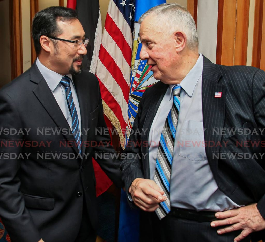 National Security Minister Stuart Young and US Ambassador Joseph Mondello at an event in 2018. -