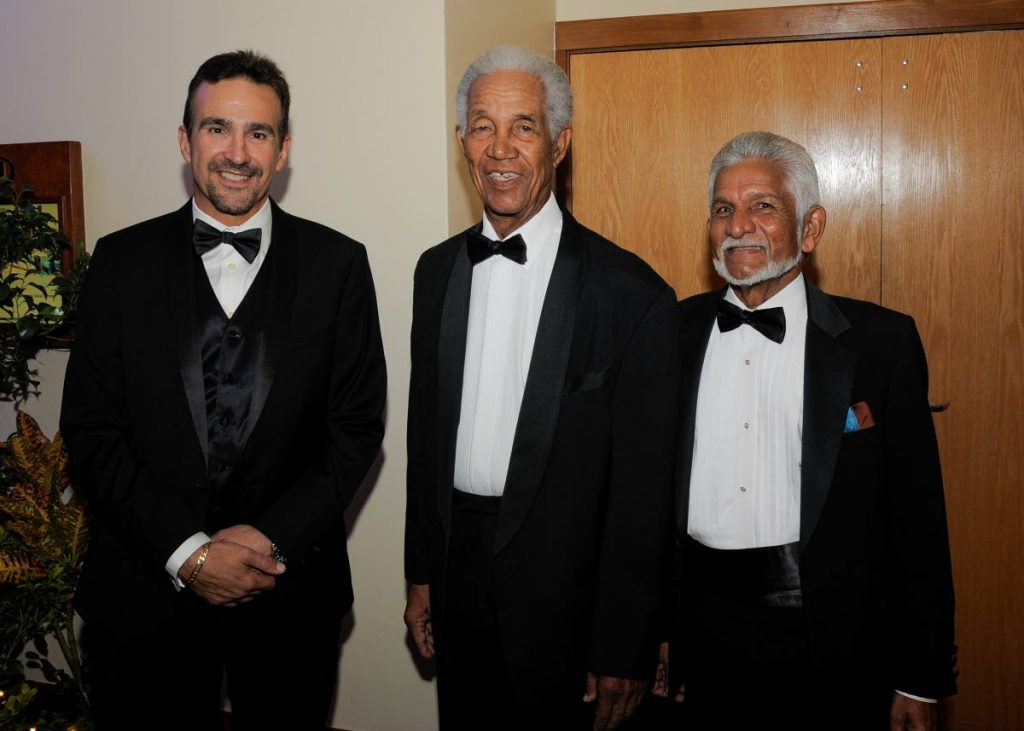 West Indies Retired Players Foundation member Dr Nigel Camacho, left, with Windies legends Sir Garfield Sobers, centre, and Deryck Murray at the Queen's Park Oval, Trinidad.  PHOTO COURTESY WINDIES CRICKET -