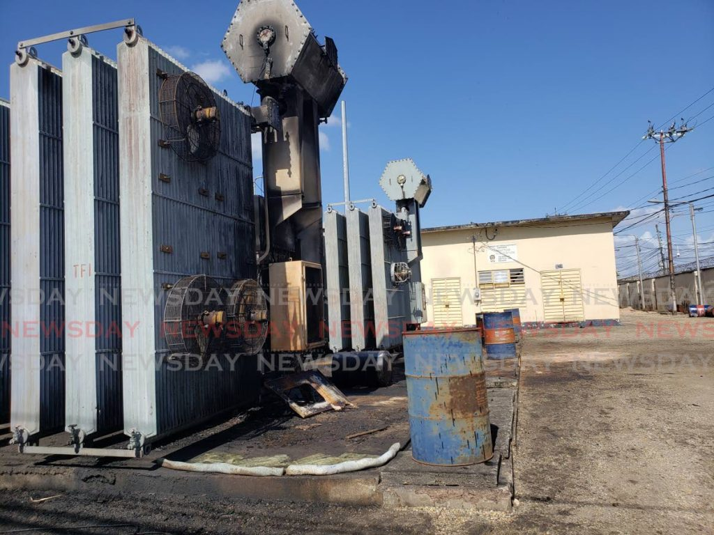 The T&TEC Arbattior Sub-Station on Arbattior Road in East Port of Spain, showing possible fire damage. - ROGER JACOB