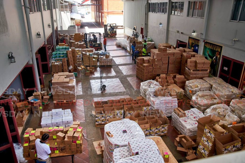 Boxes of goods ready to be packed and distributed by Angostura employees. Photo courtesy Angostura. -
