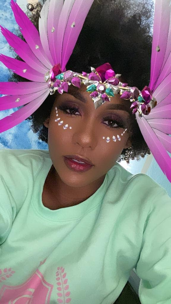 Nailah Blackman with the Carnival Cutie Instagram filter.  -