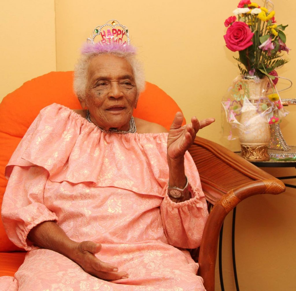 Ena Smith, 100, in an interview at her home in Ste Madeleine on Saturday. Smith lived through the Great Depression and the polio outbreak. PHOTO BY VASHTI SINGH -