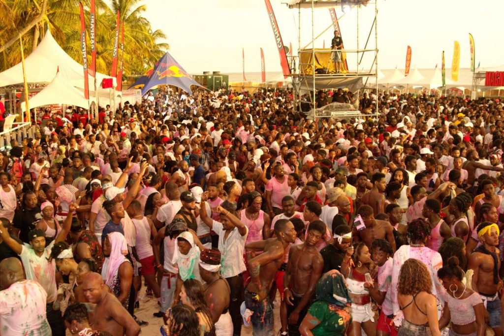 A massive crowd at 2018 Great Fete Weekend's Soca Glow at Pigeon Point Heritage Park. -