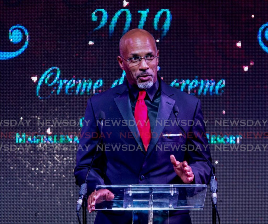 Secretary of Sport and Youth Affairs Jomo Pitt speaks at the 2019 Youth Awards at the Magdalena Grand Beach Resort, Lowlands. File photo -