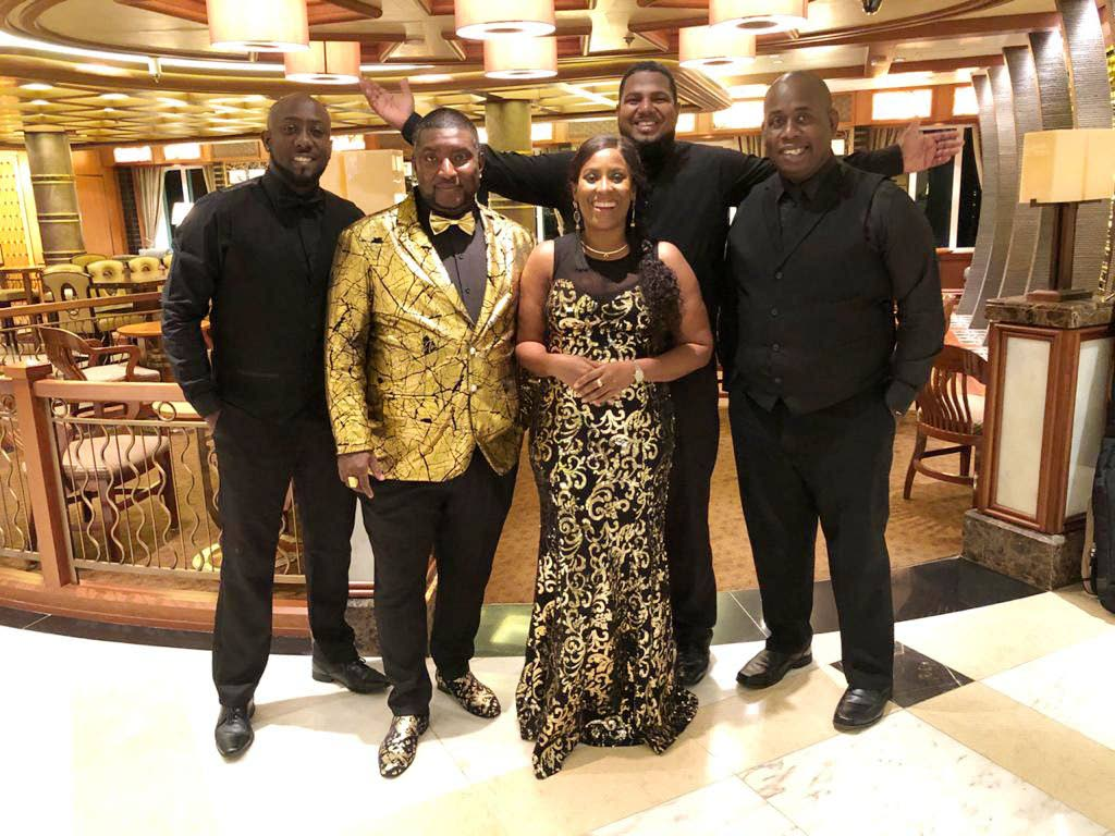 From left, musicians Rodney Harris, Sterling Howell, Esther Dyer, Rondell Edwards and Sheldon George, all members of the TT band Xcite who were  stranded onboard the Caribbean Princess liner as TT borders remain closed due to covid 19. -