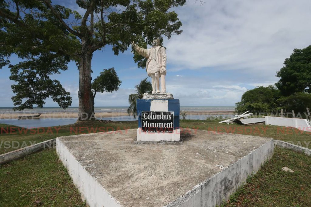 A replica of Christopher Columbus on display at Gran Chemin beach, Moruga where he first landed in Trinidad in 1498. PHOTO BY LINCOLN HOLDER -