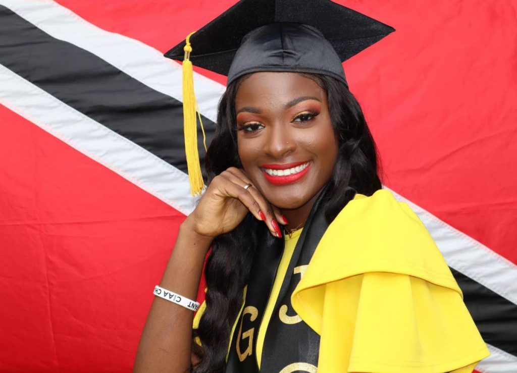 NCAA Division II All-American, Alisha St. Louis after graduating with a BSc. Sport Management from Johnson C. Smith University on May 17.  -