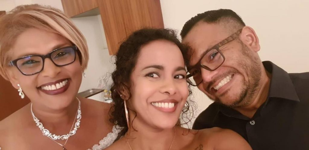 Judy Maharaj, left, Darielle Persad and Kenneth King Fook, right. King Fook is asking the government to allow him to be home to bury his mother Maharaj who died on May 14 and to be with Persad, his pregnant wife. -