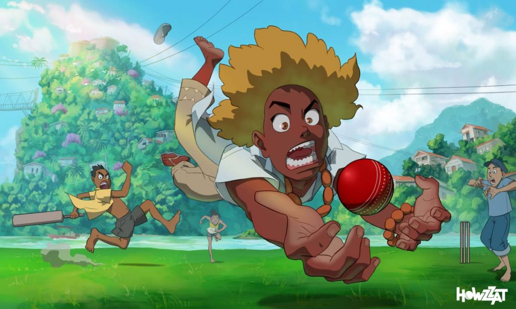 A screengrab of Howzzat! with protagonist Luke diving for a ball. -