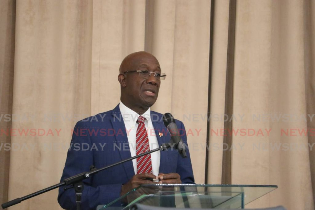 Prime Minister Dr Rowley   PHOTO COURTESY OFFICE OF THE PARLIAMENT - TT Parliament