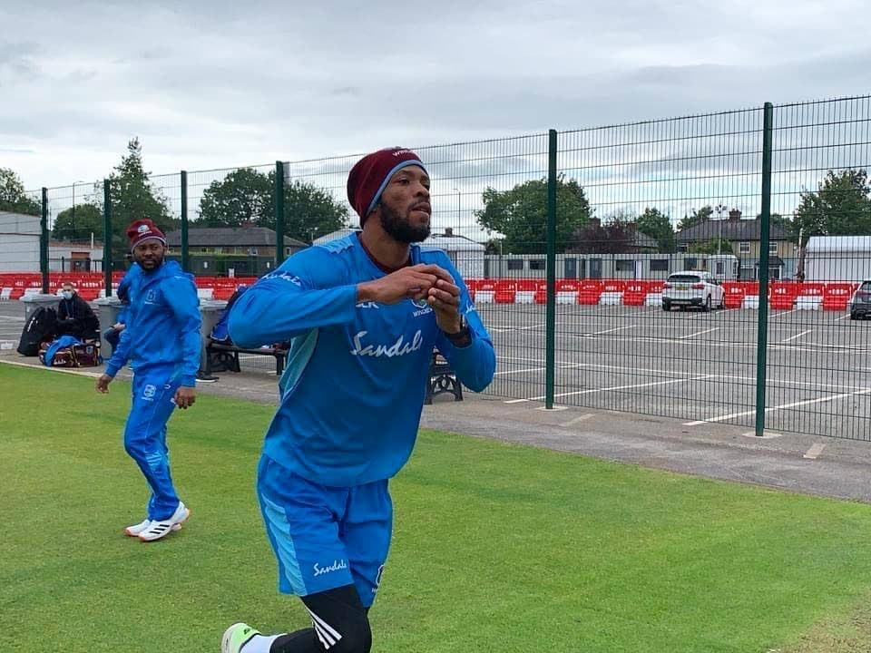 West Indies' Roston Chase bowls in the nets at Old Trafford in a training session on Sunday ahead of the 1st Test against England. PHOTO COURTESY CWI  -