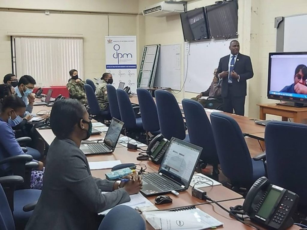 CEO of the ODPM, Rodney Smart, speaks with participants at the  disaster relief simulation exercise. PHOTO COURTESY THE ODPM - Photo courtesy ODPM