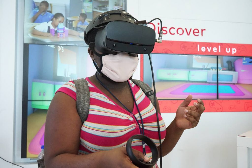 A guest at the launch engages with the virtual reality platform. The Masters of Prep Game is live in Google Play store and available for download on Android, tablets and desktops.  -