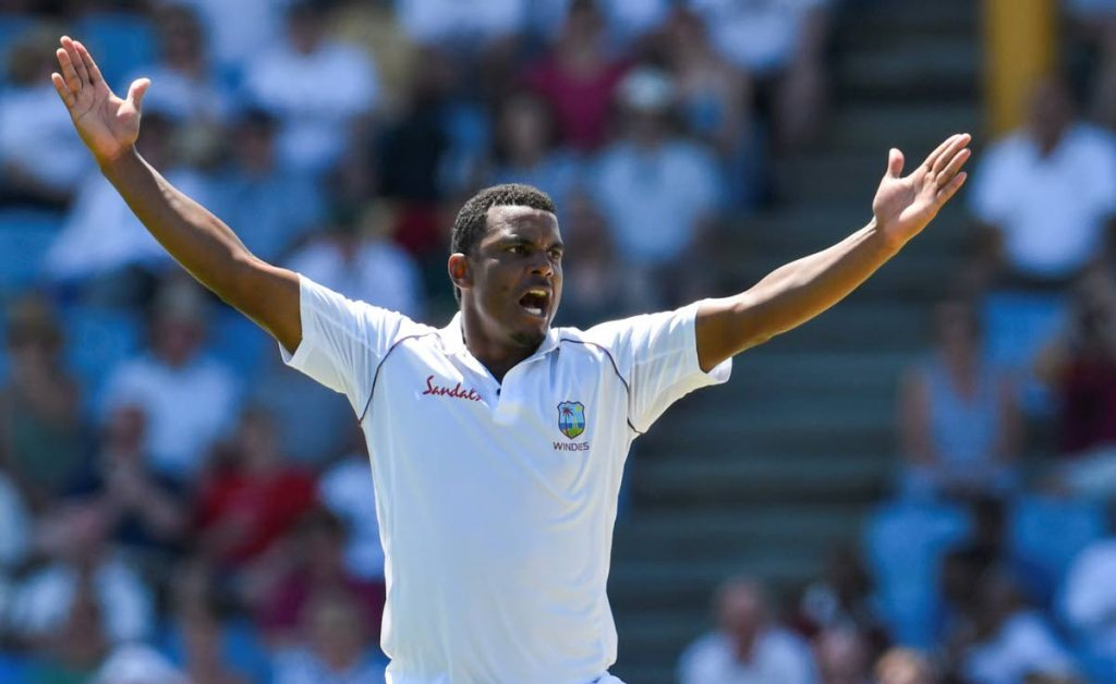 In this February 9, 2019 file photo, Shannon Gabriel of West Indies celebrates the dismissal of Joe Denly of England during day 1 of the 3rd and final Test between West Indies and England at Darren Sammy Cricket Ground, Gros Islet, Saint Lucia. - via CWI Media