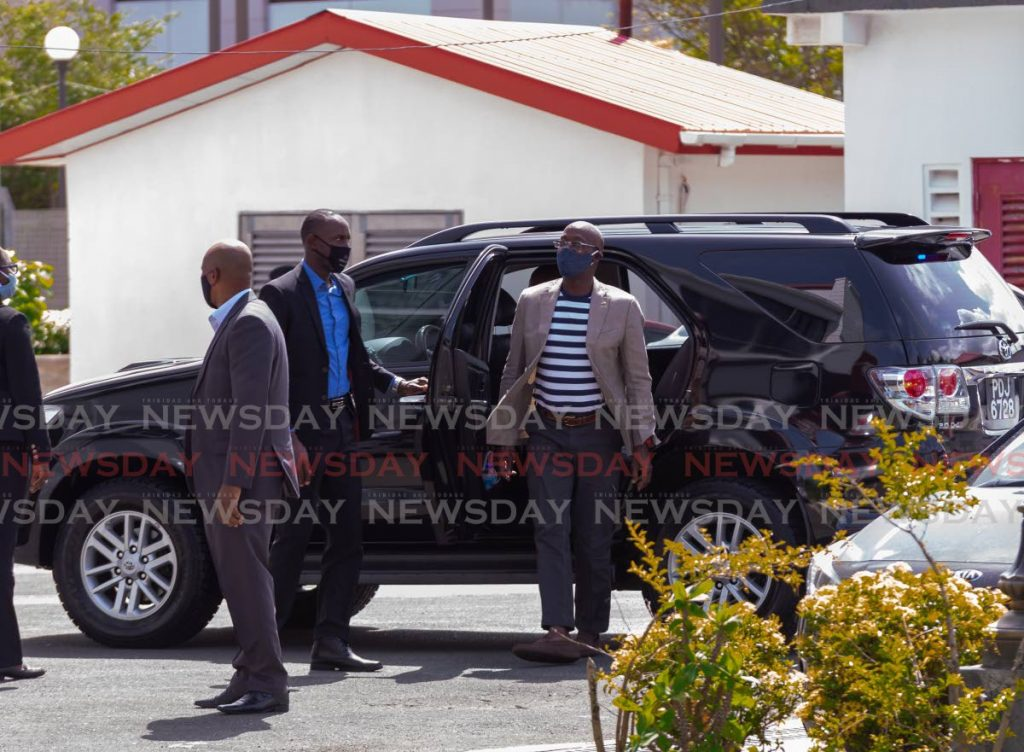 Prime Minister Dr Keith Rowley arrives at the Scarborough Library, Tobago for a covid19 press briefing on Saturday. - DAVID REID