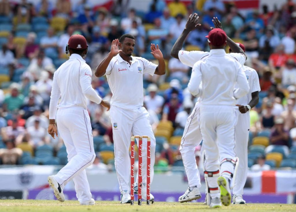 In this Jan 26,2019 file photo, Shannon Gabriel of the West Indies celebrates taking the wicket of Jonny Bairstow of England during Day Four of the first Test match between England and West Indies at Kensington Oval ,in Bridgetown, Barbados.   AFP PHOTO -