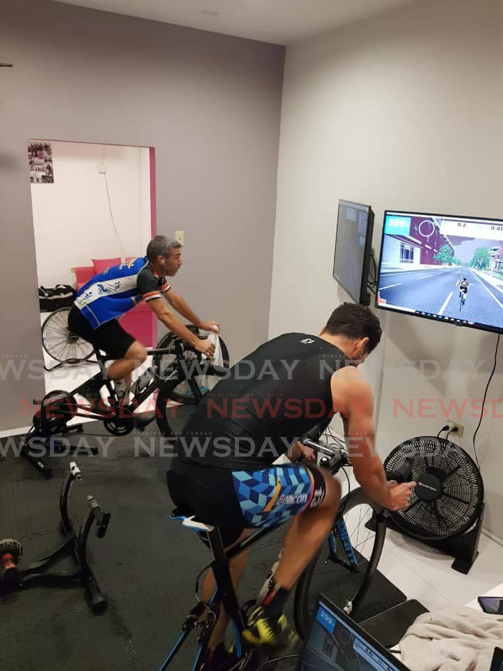 Cyclists complete a test time trial ride on cycling app, Zwift in preparation for TTCF/Indoor Cycle Works online virtual time trail from July 10-12.  -