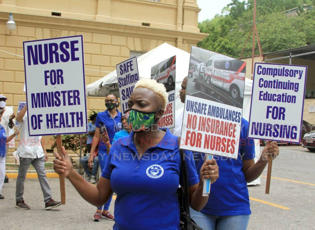 Nurses prtotest against temporary employment and poor working conditions at the St. Ann's Hospital.  - Ayanna Kinsale