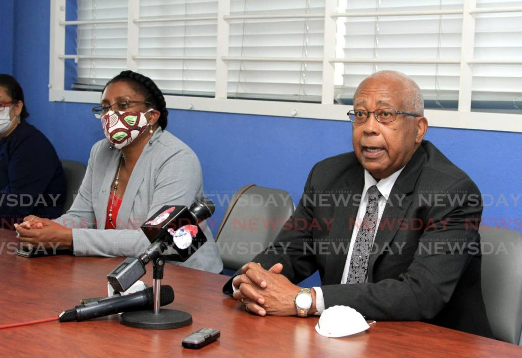 File photo: Minister of Education Anthony Garcia speak during a press conference at the Aranguez North Secondary School on Wednesday. Also in the photo is Chief Education Officer Lisa Henry-David. Photo: Ayanna Kinsale