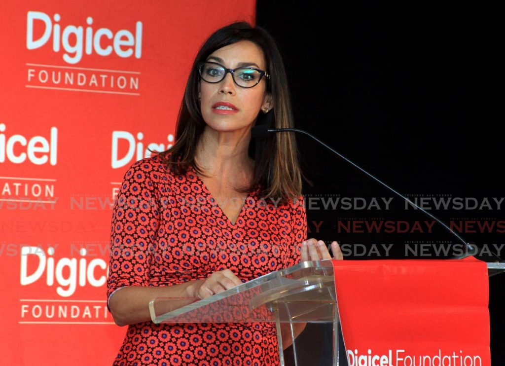 Secretary of the Digicel Foundation Sacha Thompson CEO Digicel Foundation speak during the Connecting You Programme launch at Goodwill Industries, Fitzblackman Drive, Woodbrook. Digicel donated tablets to students so they can continue learning while at home during the covid 19 restrictions. - Ayanna Kinsale
