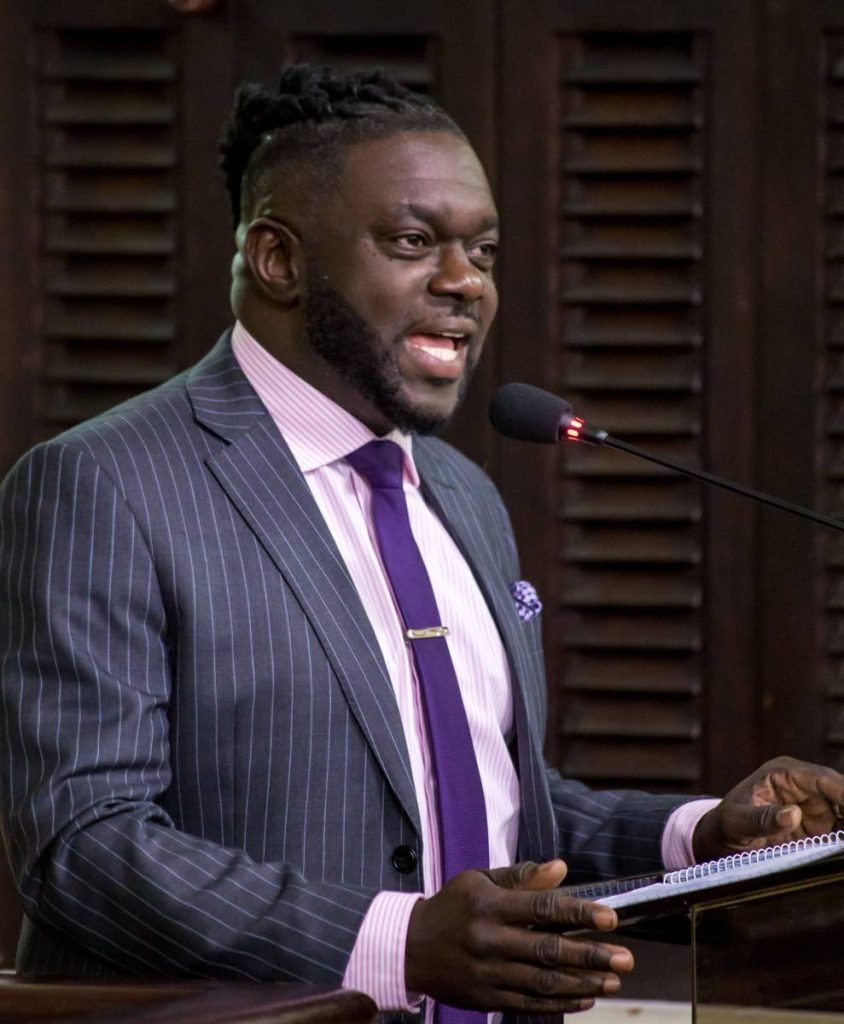 Minority Leader Watson Duke delivers his budget response at the Assembly Legislature in Scarborough on Thursday. PHOTO COURTESY THA  -