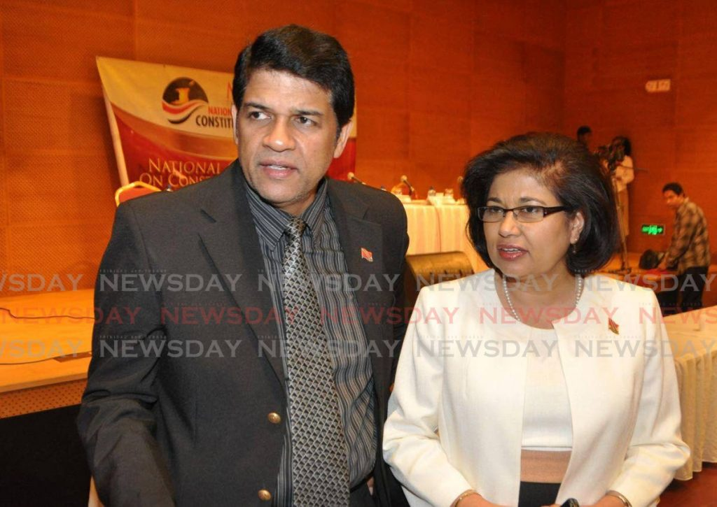 Former St Augustine MP Prakash Ramadhar with Congress of the People political leader Carolyn Seepersad-Bachan. (FILE PHOTO) -
