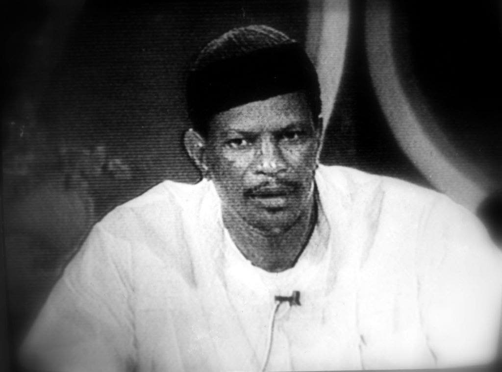 Imam Yasin Abu Bakr addresses a stunned nation on July 27, 1990, 'live' on now defunct television station TTT, announcing that the Jamaat al Muslimeen was in control following a coup.