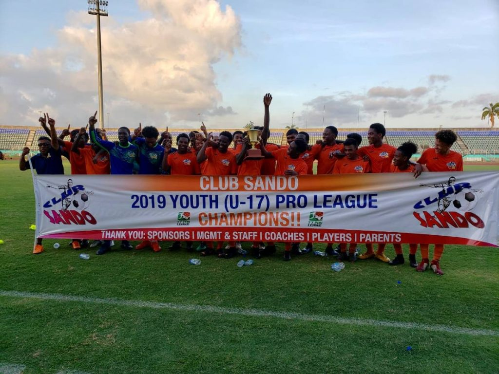 FLASHBACK: In this file photo, Club Sando's U-17 team celebrate after winning the 2019 Youth Pro League. -