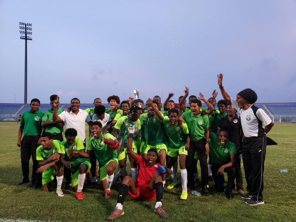 In this June 16,2019 file photo, W Connection celebrate after winning the Youth Pro League Cup Under-17 crown. -