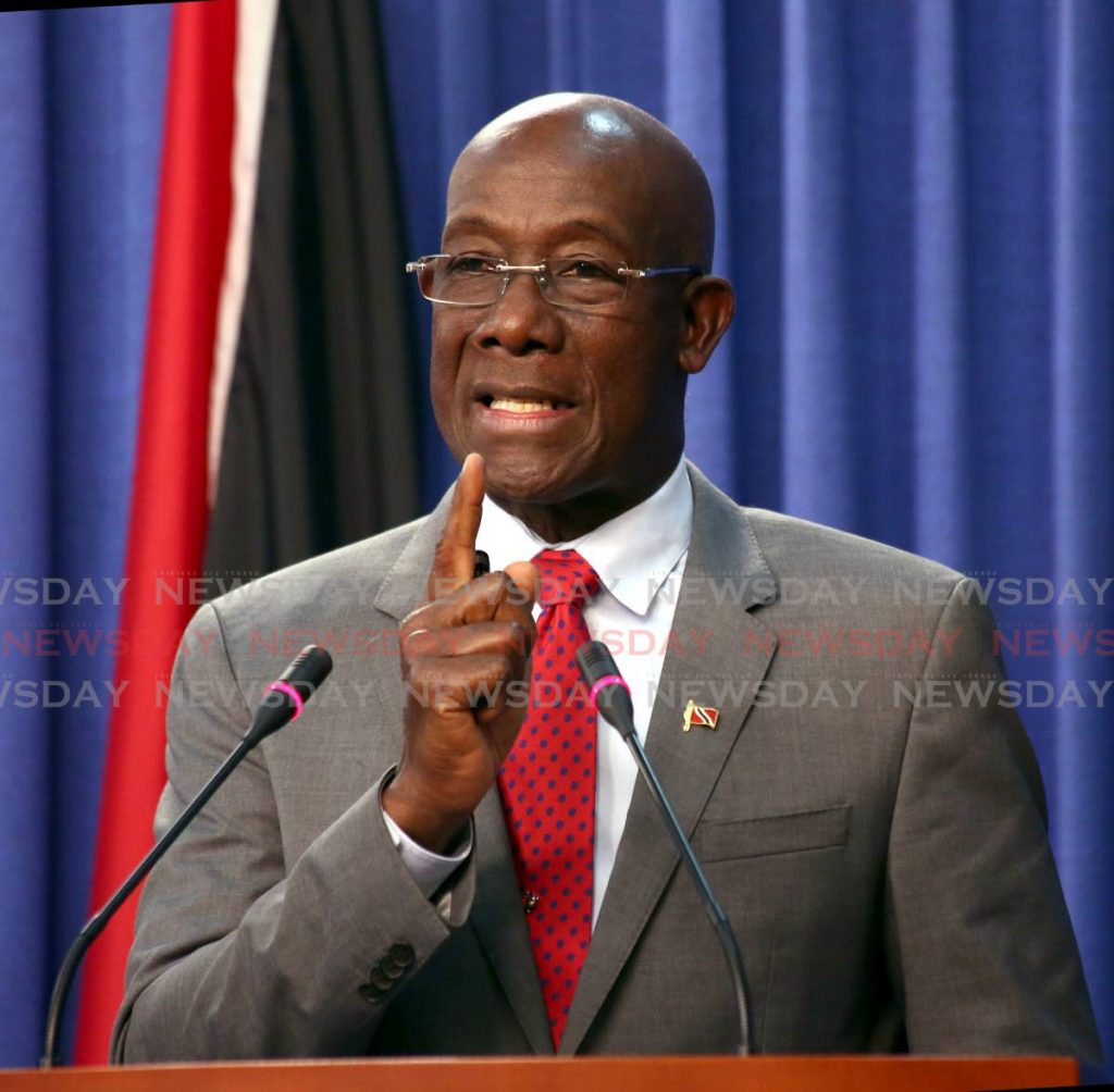 NO WAY JOSÉ: Prime Minister Dr Keith Rowley who on Monday ruled out any possibility of a coalition with Watson Duke, should the PDP win a seat in the general election. FILE PHOTO - Sureash Cholai