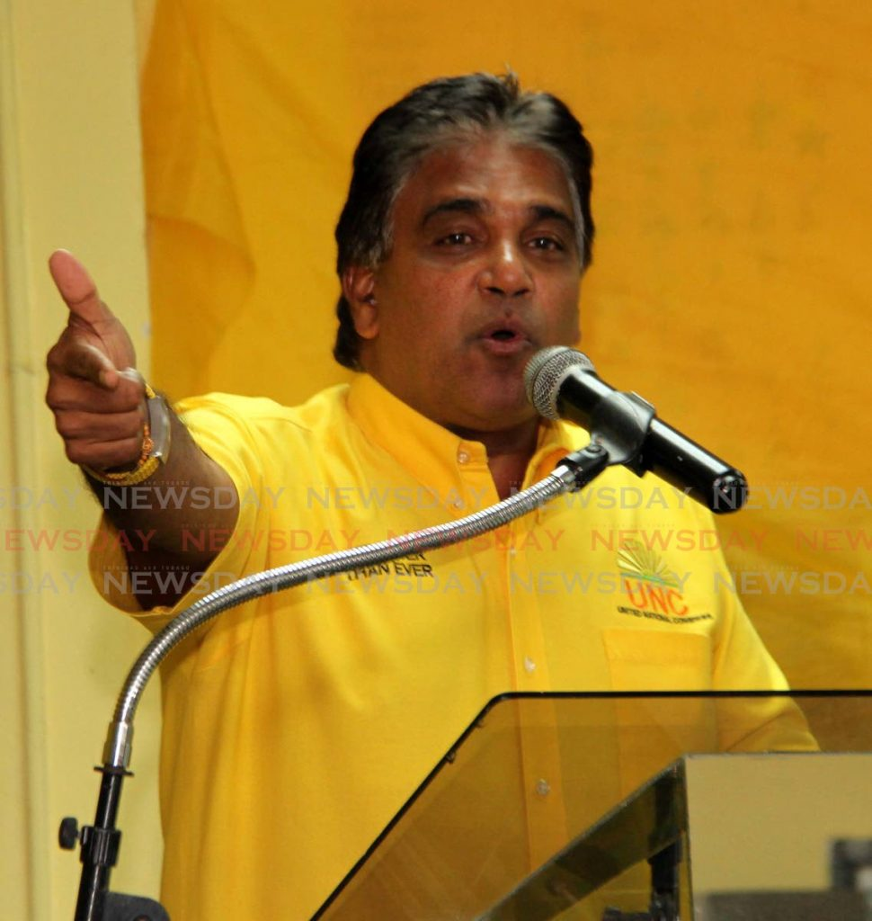 UNC Oropouche East candidate Dr Roodal Moonilal. -