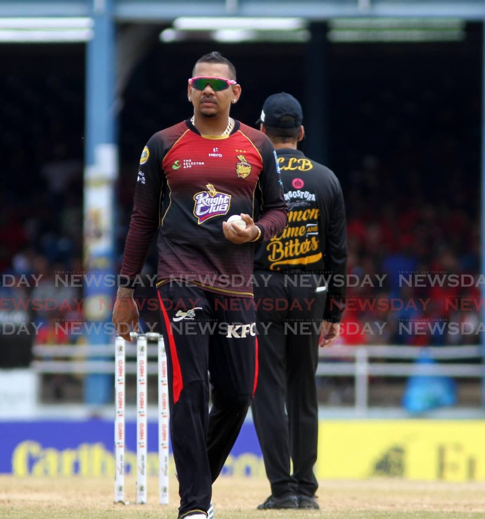 Trinbago Knight Riders spinner Sunil Narine at a 2019 CPL match at the Queen's Park Oval, Port of Spain.  -