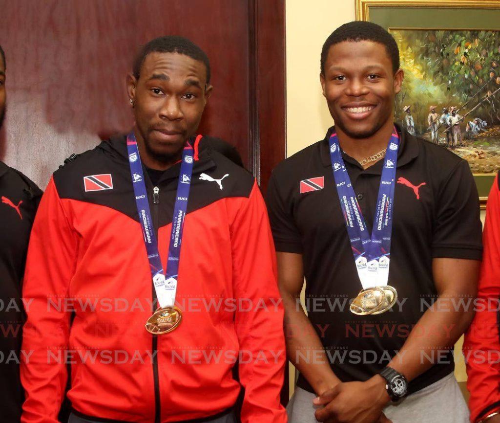Team TTO's sprint cyclist Nicholas Paul (L) and team-mate Kwesi Browne. - Sureash Cholai