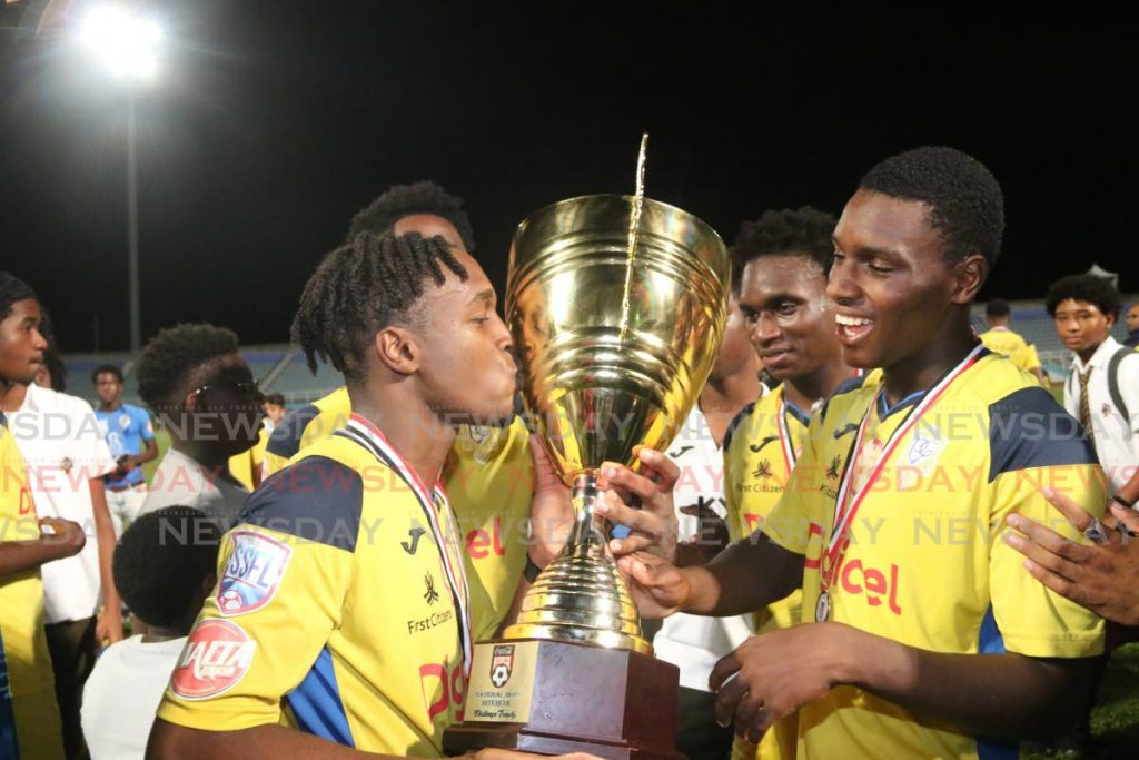 In this December 4, 2019 file photo, members of the Presentation College, San Fernando celebrate after winning the Intercol final against San Juan North Secondary at the Ato Boldon Stadium, Couva. PHOTO BY MARVIN HAMILTON. - Marvin Hamilton