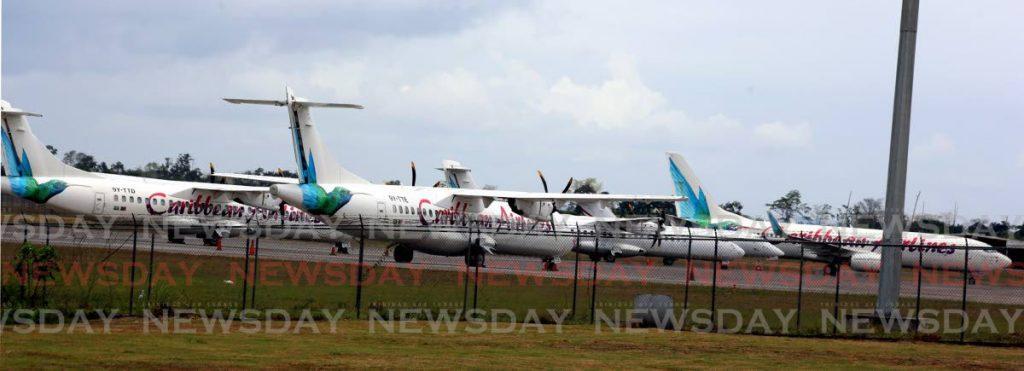 Caribbean Airlines planes at Piarco International Airport.   - SUREASH CHOLAI