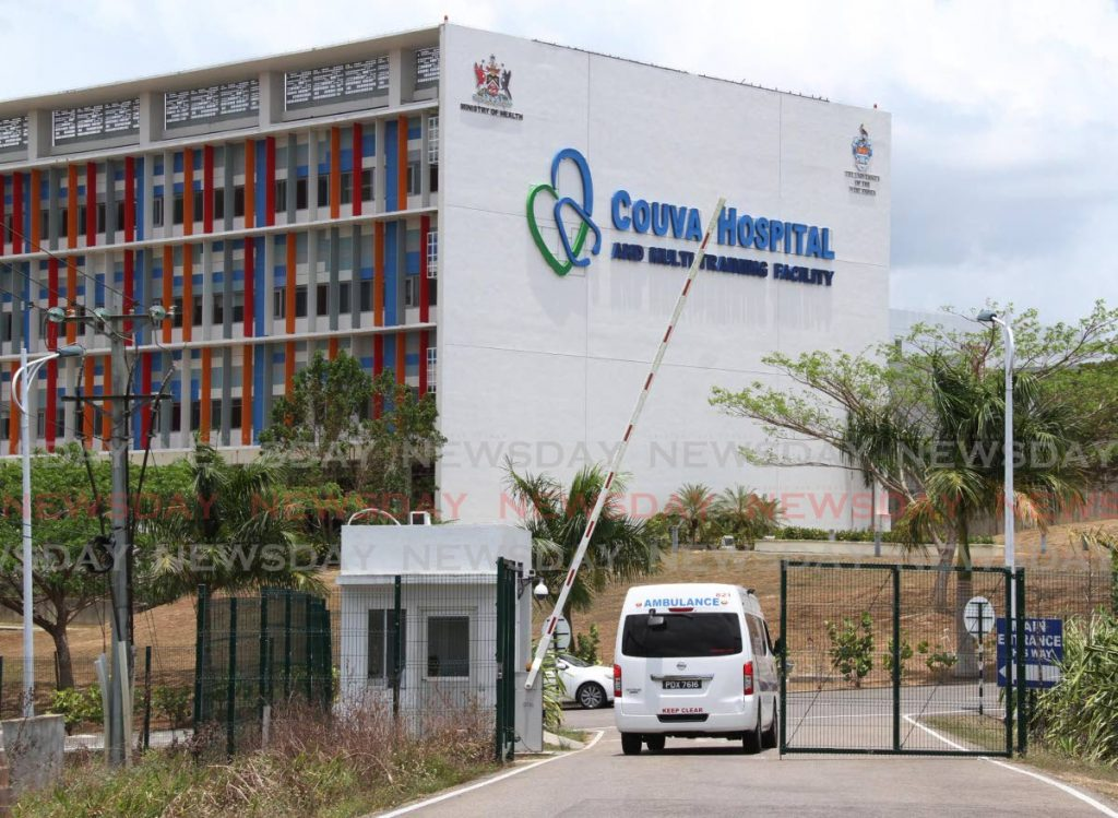 In this April 29, 2020 file photo an ambulance enters the Couva Hospital, one of the facilities in the covid19 health system. TT received US$20 million from the World Bank for its pandemic response plan.  - Vashti Singh
