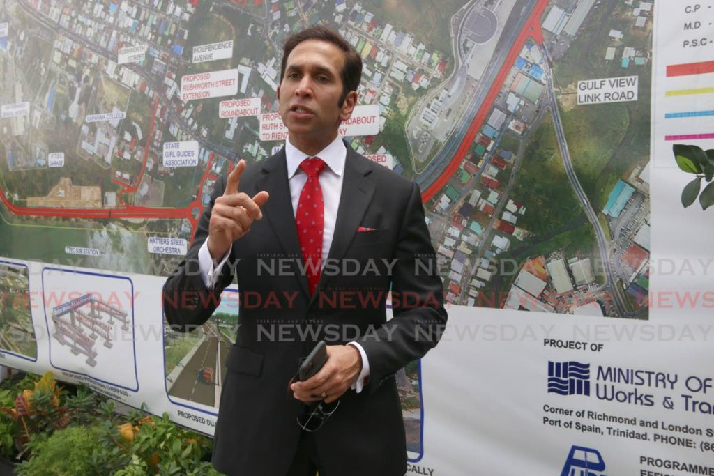 In this June 26 file photo, Attorney General Faris Al-Rawi addresses the sod-turning ceremony for the Lady Hailes Avenue expansion project as part of the San Fernando Waterfront Revedelopment plan. The Congress of the People wants Al-Rawi to condemn a video of a woman making a racist remark in the run-up to the general election. PHOTO BY MARVIN HAMILTON -