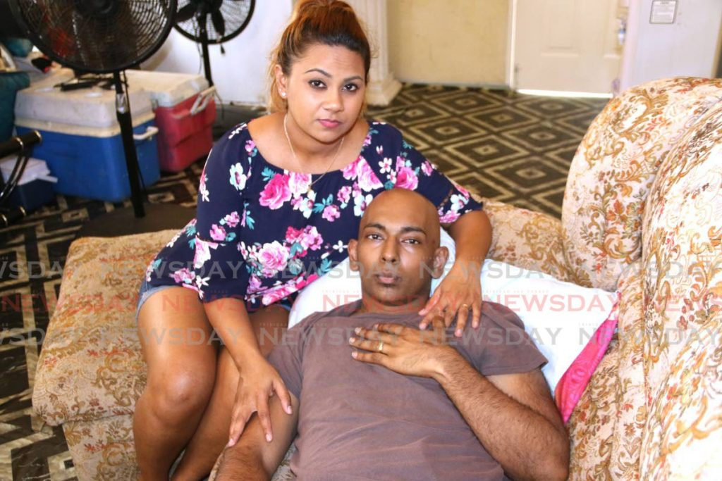 BATTLE LOST: Cancer patient Stephan Persad, seen here with fiance Crystal Kowlessar, lost his battle with the disease on Tuesday, dying at Medical Associates Hospital in St Joseph. FILE PHOTO - Marvin Hamilton