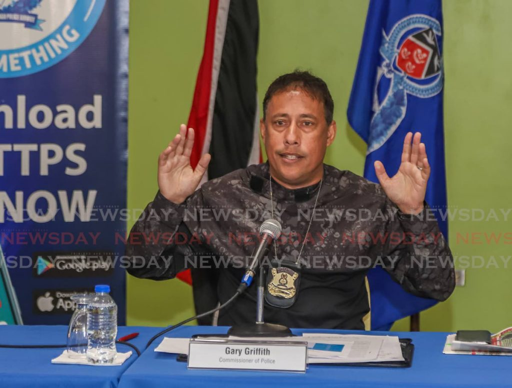 Police Commissioner Gary Griffith during a recent press conference at the Police Administration Building, Port of Spain. PHOTO BY JEFF MAYERS -