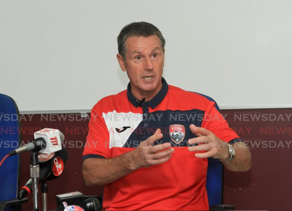 File photo of TT men's football team coach Terry Fenwick speaks to the media during a media conference at the Police Barracks, St James on Friday. PHOTO BY AYANNA KINSALE - Ayanna Kinsale